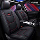 Autositzbezug, Vorne Hinten 5 Sitz Voll Set Universal Leder Seasons Pad Kompatibel Airbag Seat Protectors Wasserdicht. (Farbe : Black red)