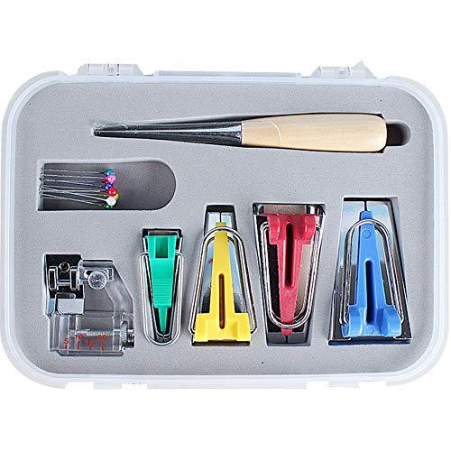 N/A Kit de cinta de bies para costura de bricolaje, punzón y carpeta de pie herramientas