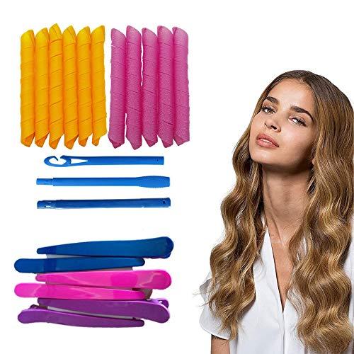 Lockenwickler Curler,13 Stück Lockenwickler Set mit Styling-Haken Haarstyling Werkzeuge Keine Hitze DIY Lockenwickler mit Styling für Frauen Mädchen