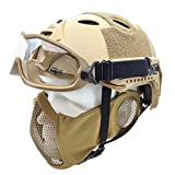 PJ Type Tactical Airsoft Fast Helmet and Foldable Half Face Mesh Mask with Ear Protection Adjustable Chin Strap Full Face Protection for Older Teenager Adult (CT)