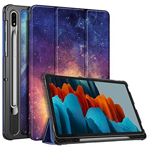 Fintie Hülle für Samsung Galaxy Tab S7 11'' SM-T870 / SM-T875, Ultra Schlank Kunstleder Schutzhülle mit Stifthalter, Auto Schlaf/Wach Funktion für Samsung Tab S7 11 Zoll 2020 Tablet, Die Galaxie