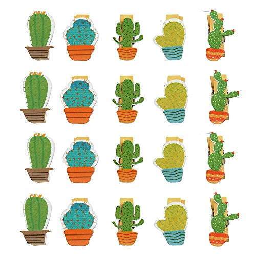 BinaryABC Back to School Supplies,Cactus Wooden Photo Clips Pegs Clothespins Note Memo Card Holder,Hawaiian,Luau Summer Party Decorations 20Pcs