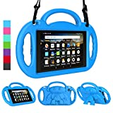 LEDNICEKER Kids Case for Fire HD 8 2018/2017 - Shockproof Handle Friendly Kids Stand Case with Shoulder Strap for Amazon for Fire HD 8 inch Tablet (7th & 8th Gen Tablet, 2017 & 2018 Release) - Blue