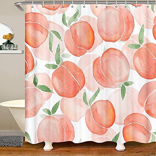 JOOCAR Cortinas de ducha de melocotón, cortina de ducha de frutas de verano, acuarela, melocotón, cortina de baño, diseño colorido y brillante, cortina de ducha de baño con 12 ganchos