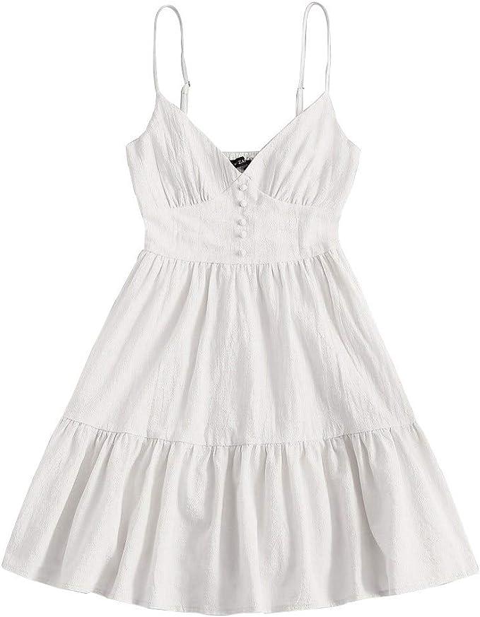 Zaful Damen Knopf Verschonert Smocked Volant Saum Cami Kleid Minikleid Strandkleid Shirred Armelloses Kleid Amazon De Bekleidung
