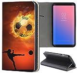 Handyhülle für Sony Xperia Z3 Premium Smart Einseitig Flipcover Flip Case Hülle Xperia Z3 Motiv (1333 Fußball Fussball Schwarz Braun Spieler)