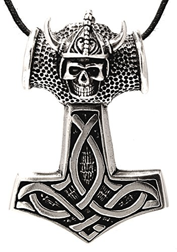Thorshammer pendentif rond en argent sterling 925 avec chaîne gourmette en argent sterling 925, épaisseur 6 mm 45–65 cm