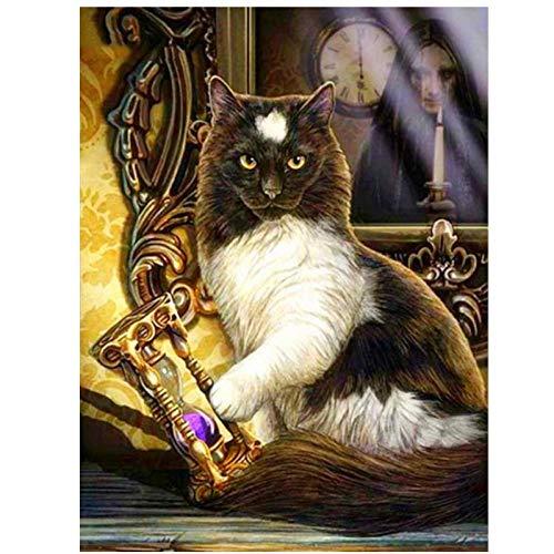 WhjfLins Diy 5D Diamond Painting (gato con reloj de arena), taladro cuadrado completo bordado en, manualidades para decoración de la pared del hogar, regalo, 16x20inch, sin marco