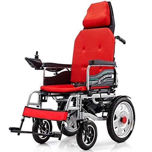 Elektrische rolstoelen, vouwbaar, rijd met power of handmatige scooter, gemakkelijk te reizen, medical transport, hulp, rolstoel, compacte mobiliteitsstoel, rood