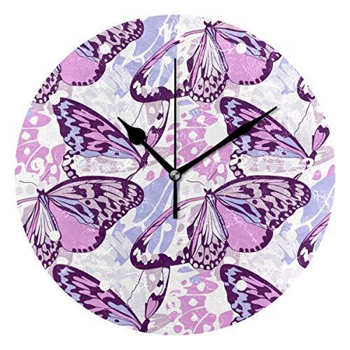 SUNOP Wanduhr für Kinder, mit Öldruck, 1 Hipster-Motiv mit rosa Schmetterlingen, Wanduhren für Wohnzimmer, Schlafzimmer und Küche, Vintage-Stil für Schreibtisch und Regal