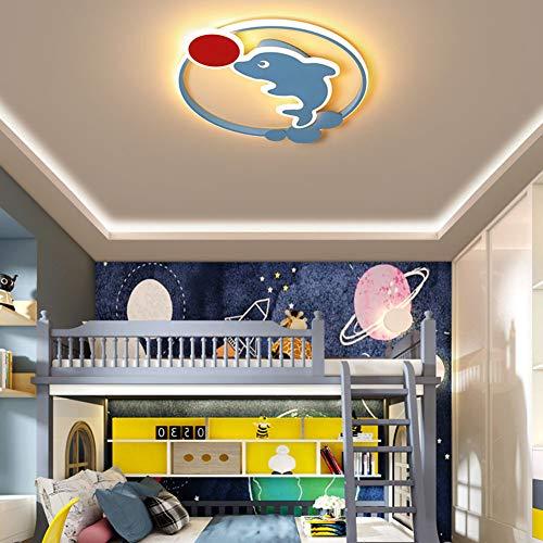 LED Plafond Licht, Dimbaar Met Afstandsbediening Children's Room Plafondlamp Cartoon Dolphin Lamp Voor Bedroom Lamp Boy Girl Creative LED-Lamp,Dimmable,56cm/50W