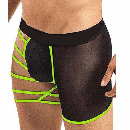 YiZYiF Herren Boxershort Asymmetrische Unterwäsche Trunk Straps Pants Dessous Unterhosen Grün Einheitsgröße (Taille 62-90cm)
