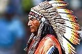 YHZSML 5D Kit De Pintura De Diamante para Manualidades_Nativos Americanos Hombre Indio Diamond Painting 40x50cm_Diamantes de imitación Bordados decoración de Pared