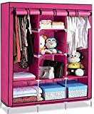 S K AND COMPANY Metal and Wood Folding Wardrobe Almirah Non Woven Fabric A-2 Light and Pink Color