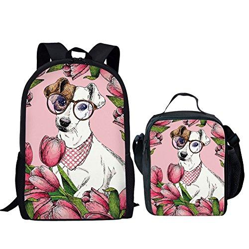 Hugs Idea Hunde-Büchertaschen-Set Goofy Jack Russell Terrier Schulrucksack + Lunchboxen