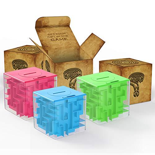 ThinkMax Money Maze, Puzzle Box Geldsparwürfel Spielzeug, 3D Puzzle Box für Kinder und Erwachsene (Green&Blue&Rosa)