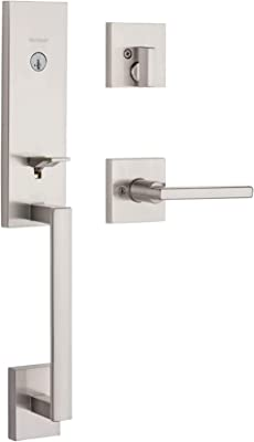 Kwikset 98180-020 San Clemente Front Handleset with Halifax Door Handle Lever,