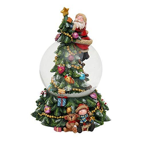 Dekohelden24 Incantevole palla di neve sull'albero di Natale, con Babbo Natale e suono, Ø 10 cm