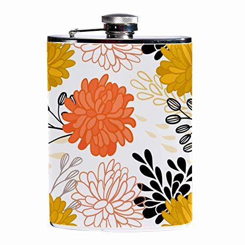 Rundafuwu Pallone per liquore, Leak Proof Liquor Hip Flask 7 oz Flagon Mug with Ornamental Flowers Print Pocket Container for Discrete Shot Drinking of Whiskey Liquor