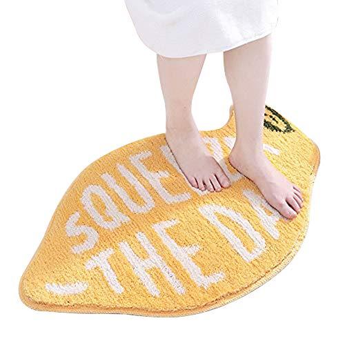 NYWENY, tappetino da bagno antiscivolo color limone, morbido e confortevole, tappeto assorbente per il bagno, lavabile in lavatrice, per camera da letto dei bambini, cucina, soggiorno