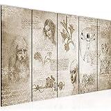 Runa Art Cuadro XXL Leonardo Da Vinci 200 x 80 cm Biege 5 Piezas - Made in Germany - 700455a