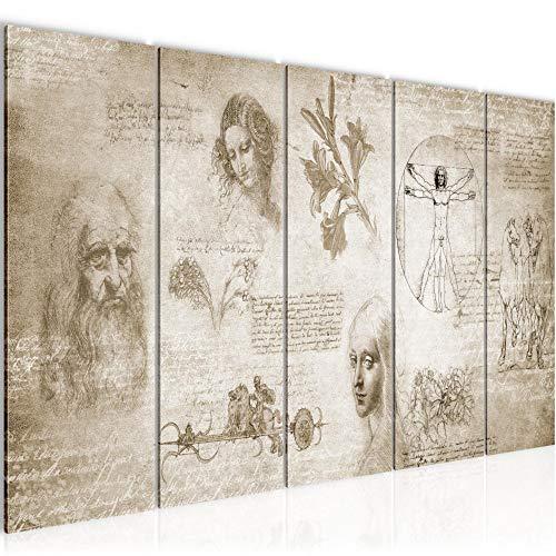 decoración de la mesa de la pared de Leonardo da Vinci - 200 x 80 cm Vista de impresión en lienzo Salón Apartamento - listo para colgar - 700455a