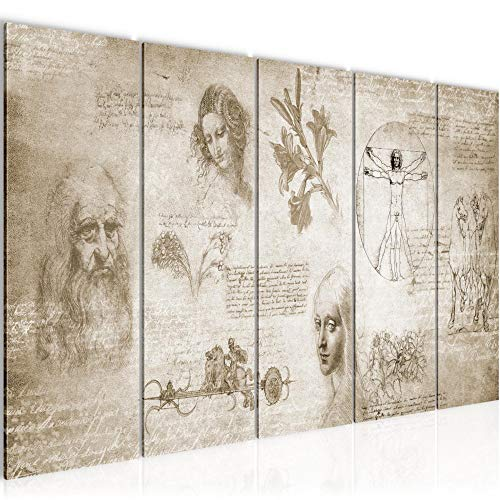 Runa Art Wandbild XXL Leonardo Da Vinci 200 x 80 cm Biege 5 Teilig - Made in Germany - 700455a