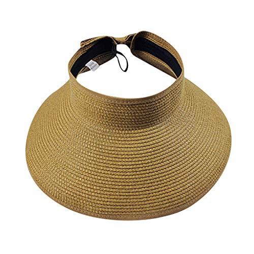 H/A GUOHUU Mujer Verano Plegable Paja Sol Paraguas Plegable UV Gorras Sombreros al Aire Libre Viajar Sombrero Sombrero Sombrero GUOHUU (Color : Khaki, tamaño : Talla única)