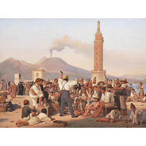 Hansen Rezitierender Orlando Furioso Molo Neapel Malerei, großes Wandkunst-Poster, Druck, dickes Papier, 45,7 x 61 cm