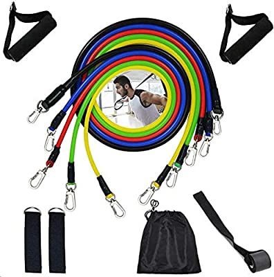OLMECO Resistance Bands Set, Exercise Bands for Resistance Training, Physical Therapy, Muscle Builder, Yoga, Pilates, Home Workout with Training Tubes, Handles, Door Anchor and Ankle Straps