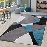 TT Home Alfombra Salón Moderna Motivo Abstracto Perfil Contorneado Negro Gris Turquesa, Größe:60x110 cm