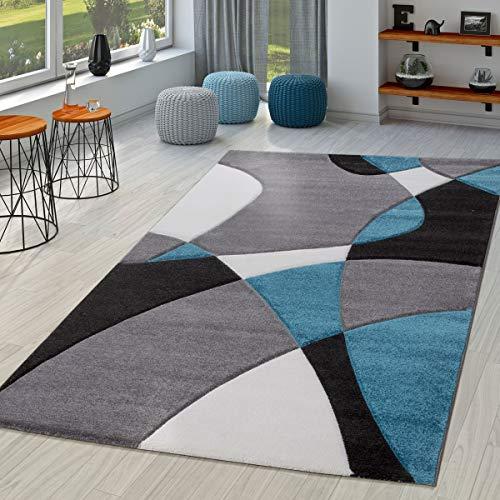 TT Home Alfombra Salón Moderna Motivo Abstracto Perfil Contorneado Ne