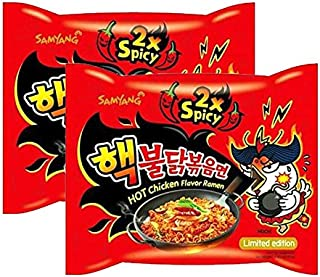 [ 2 Packs ] Samyang 2X Extra Spicy Hot Chicken Flavor Ramen KOREAN SPICY NOODLE (140g Each)