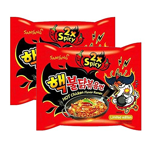 [ 2 Pack ] Samyang 2X Extra Spicy Hot Chicken Flavor Ramen Korean Spicy Noodle (140g each)
