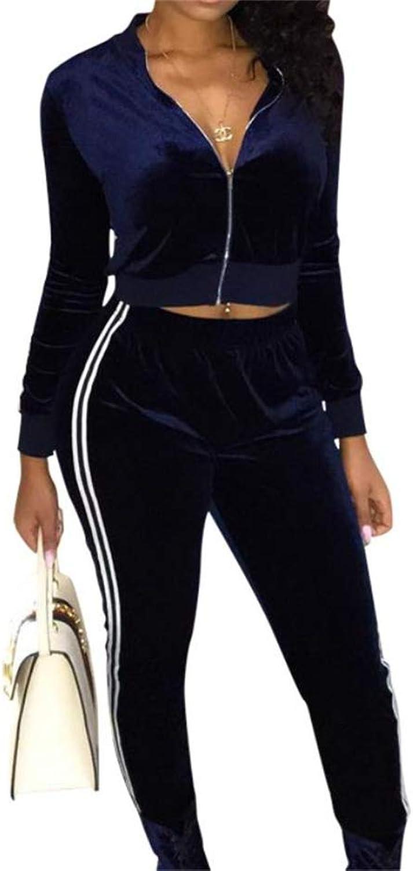 FORTUN Women's Fashion 2 Piece Set Zipper Jogging Trousers Sports Jacket