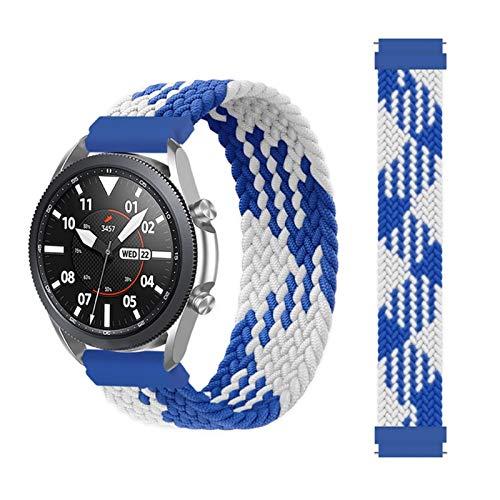 MPWPQ Correa trenzada de 20 mm y 22 mm para Samsung Galaxy Watch 3/46 mm/42 mm/active 2/Gear S3 Pulsera ForHuawei Watch GT/2/2e/Pro (Color de la correa: azul y blanco, tamaño: S (20 mm)
