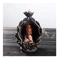 家庭用アロマディフューザー 逆流セラミック香の保有者は、線香の煙の僧侶のスティックは、仏のアロマ香炉の装飾的な彫像を落下します (Color : 1)