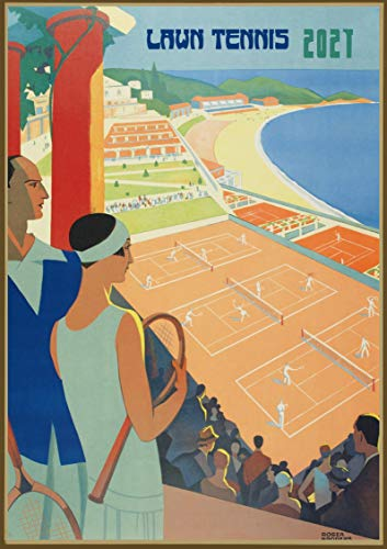 Pixiluv 2021 Wall Calendar [12 pages 8'x11'] Tennis Players Vintage Sport Ads Poster Advert