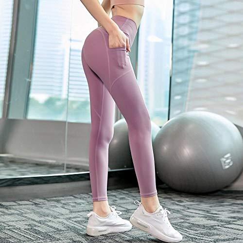 B/H Taille Haute en Tissu Léger Pantalons Yoga,Legging de Sport Moulant Extensible, Pantalon de Fitness Abdominal Taille Haute-Pink_M