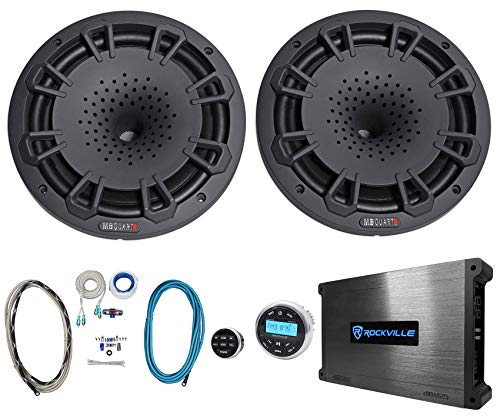 "Pair MB Quart NH1-120B 8"" 360w Marine Boat Speakers+Receiver+Amplifier+Amp Kit"