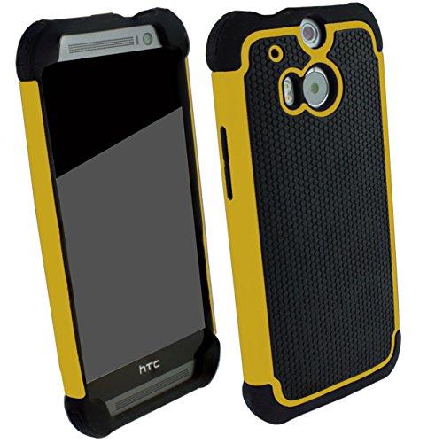 Outdoorschutzhülle für HTC ONE M8 Hülle Gelb inkl. Pnzerglas 9H transparent Outdoor Cover Hybrid Schutz Hülle Sturz Bumper Folie Schwarz Yellow