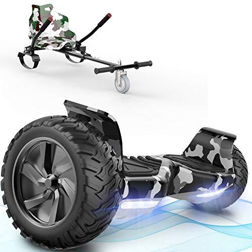 FUNDOS Hoverboard con Sedile,Hoverboard per Tutti i Terreni con hoverkart,Scooter autobilanciato da 8,5 Pollici per Go Kart, hoverboards Fuoristrada con Altoparlante Bluetooth, LED