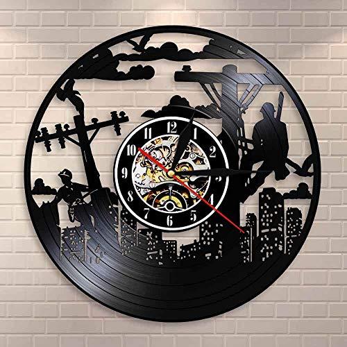 fdgdfgd Multicolor 3D Wall Clock Lineman Silhouette Electrician Wall Clock Line Life Electrical Lineman Utility Vinyl Record Wall Clock Lineman | Unique Home Decor