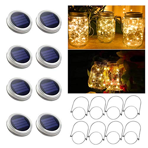 8 Pack Solar Mason Jar Lights, 30 LED Warm White Solar Fairy String Lights Lids with 8 Hangers(Jars Not Included), Best for Mason Jar Decor,Outdoor Lawn Patio Garden,Party,Christmas