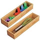 mDesign Juego de 2 separadores de cajones para la cocina – Organizadores para cajones modulares para cubertería y más – Cubertero de bambú para cajones de cocina – marrón claro