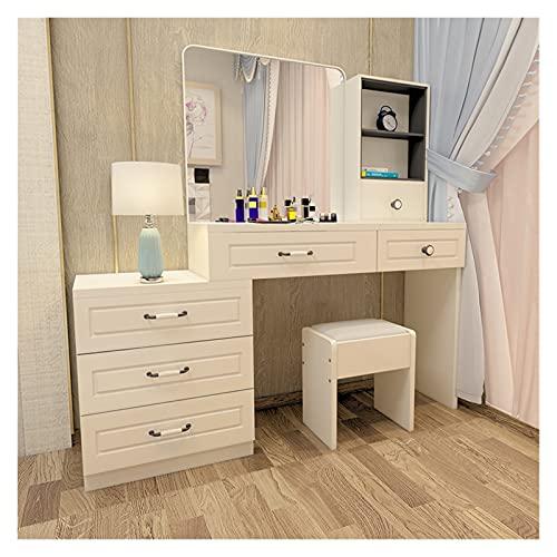 YSJJYQZ Tocador 80 cm Dormitorio Dormitorio Moderno Contratado Mini Mesa de Maquillaje Nórdico Economía Multifuncional Mesa Simple Mesa de tocador (Color : White 0.8m)