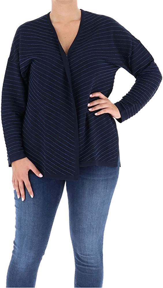 Marina Rinaldi Women's Mais Metallic Stripe Cardigan, Dark Navy, Small