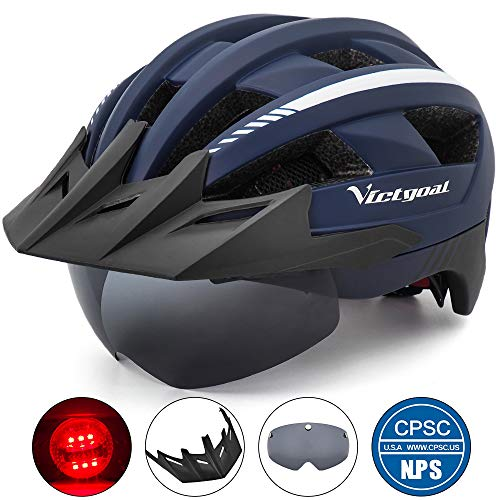 VICTGOAL Bike Helmet for Men Women with Led Light Detachable Magnetic Goggles Removable Sun Visor Mountain & Road Bicycle Helmets Adjustable Size Adult Cycling Helmets (Navy Blue)
