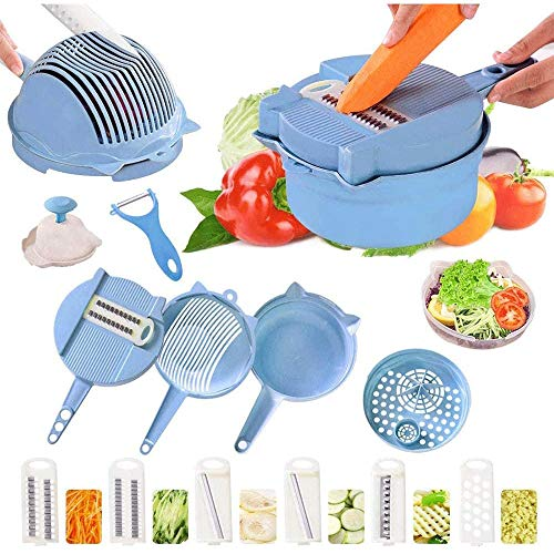 YIBOKANG Professional Multifunction 15 in 1 Cutting Vegetables,6 Interchangeable Stainless Steel Blades Draining Basket,Egg Yolk Separator Colander