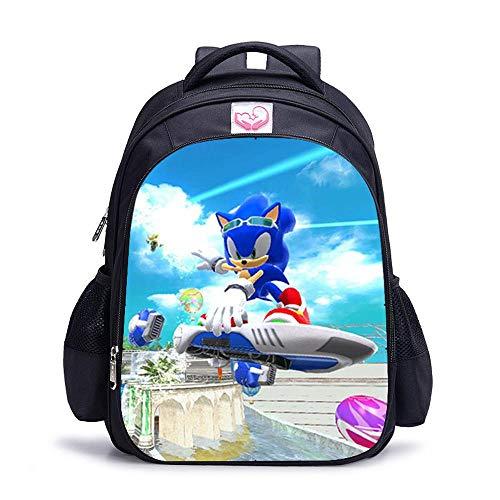 CLOUD Sacchetto della Scuola dello Studente Sonic The Hedgehog Cartoon Animation Bambini E Adolescenti Sacchetto per Laptop da Viaggio per Il Tempo Libero O-Medium 29 * 14 * 39cm